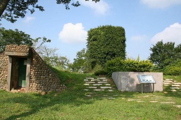 臺中都會公園北側停車場的3號圓柱型反空降碉堡 (臺中都會公園管理站提供)