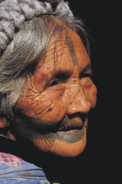 A tattaaed Old Woman